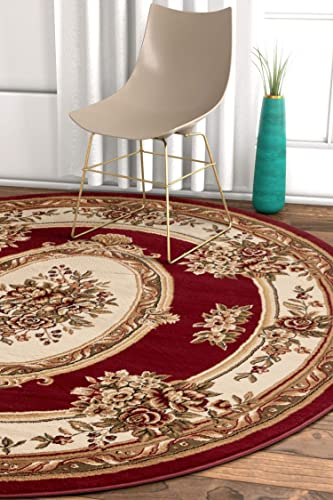 Well Woven Timeless Le Petit Palais Traditional Medallion Red Area Rug 5'3″ Round