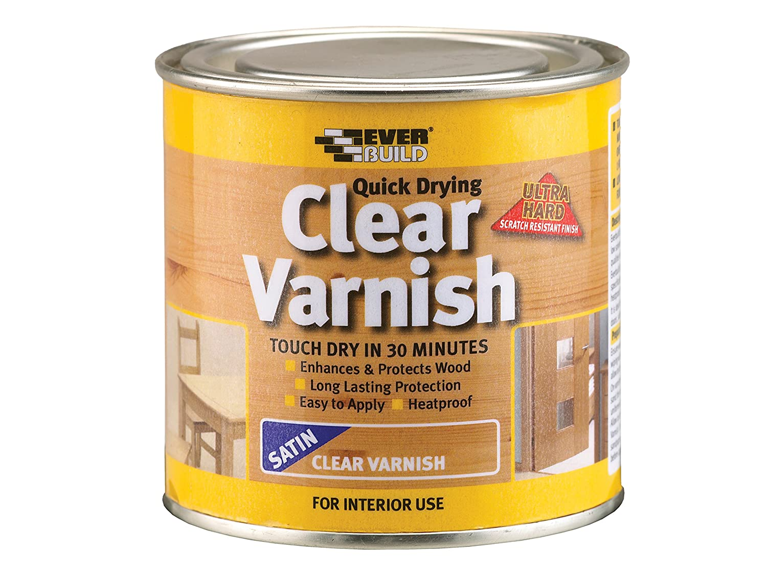 Everbuild EVBWVARCLS07 Quick Dry Wood Varnish Satin Clear 750 ml Toolbank