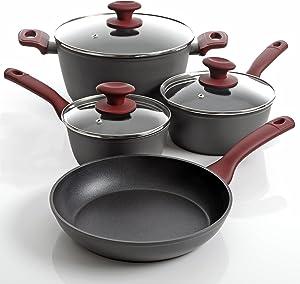 "Gibson Home 112016.07""Marengo Cookware Set, 7 Piece, Red"