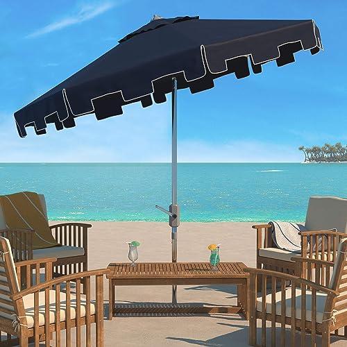 Safavieh PAT8000L Outdoor Collection UV Resistant Zimmerman 9 Crank Market Push Button Tilt Flap Umbrella, Navy White