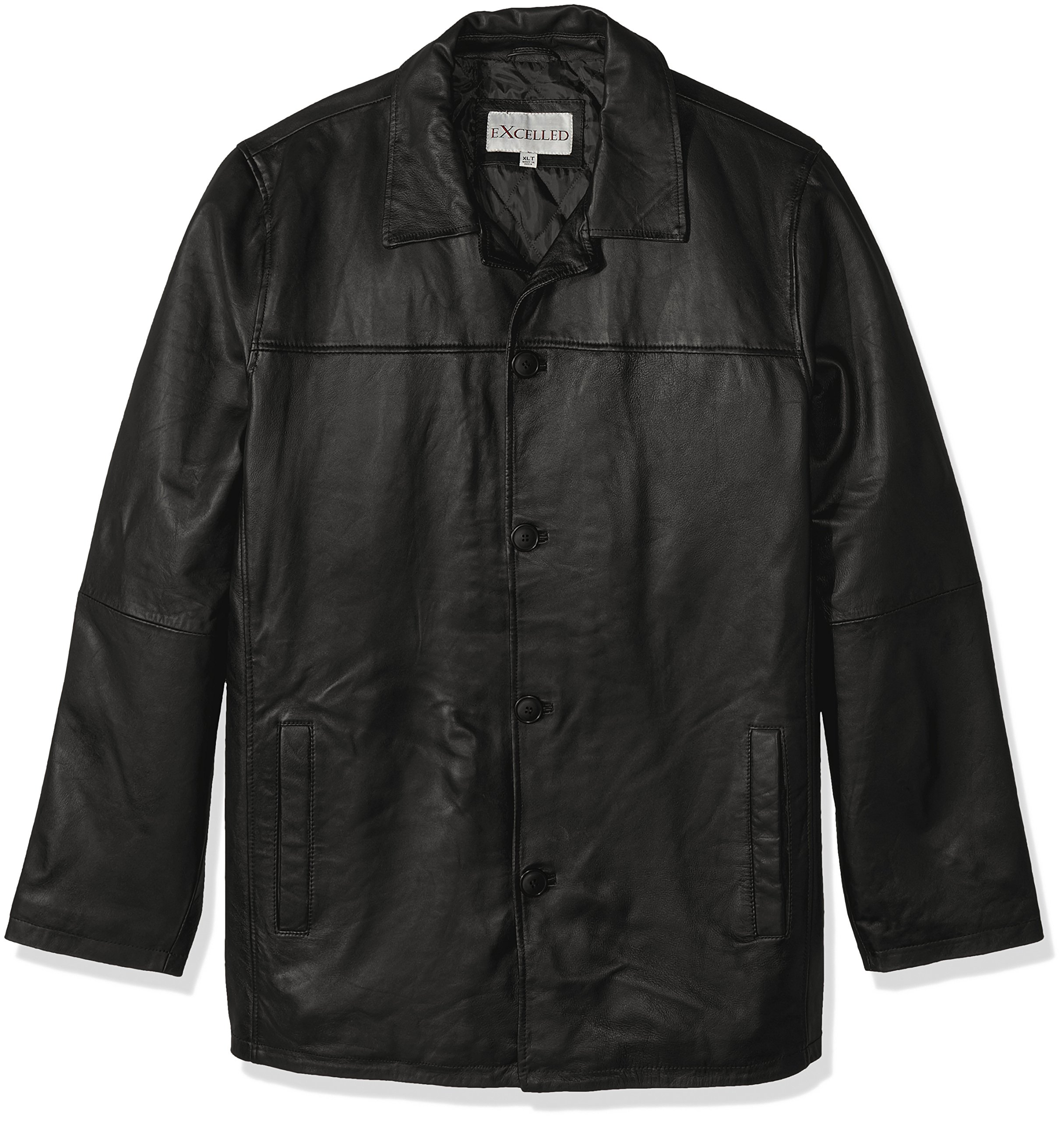 Excelled Men's Big and Tall Four-Button Lambskin Leather Car Coat, Black, 4XL
