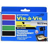 EXPO Vis-A-Vis Wet-Erase Overhead Transparency Markers, Chisel Tip, Assorted Colors, 4-Count