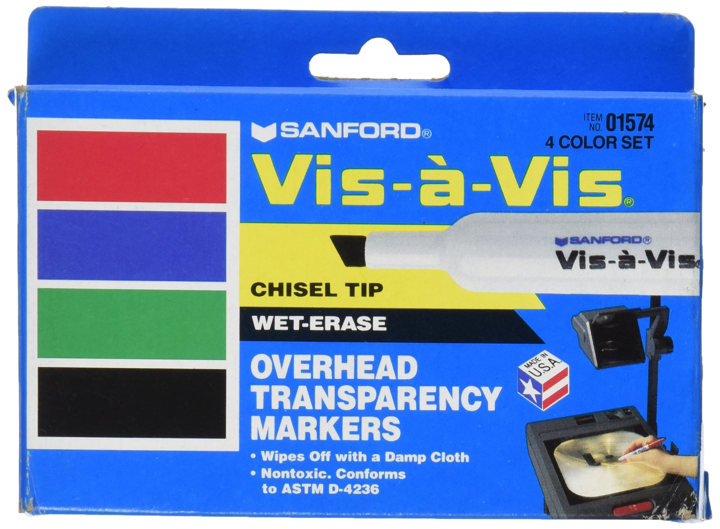 EXPO 1574 Vis-A-Vis Wet-Erase Overhead Transparency Markers, Chisel Tip, Assorted Colors, 4-Count by Expo (Image #1)
