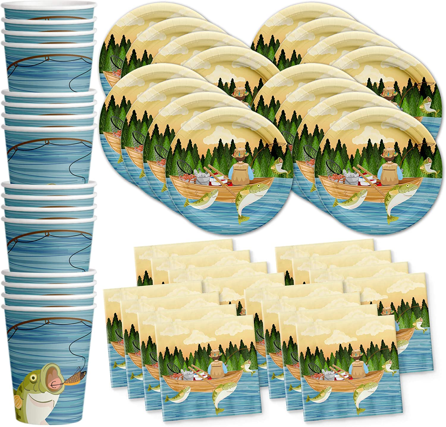 Gone Fishing Birthday Party Supplies Set Plates Napkins Cups Tableware Kit for 16