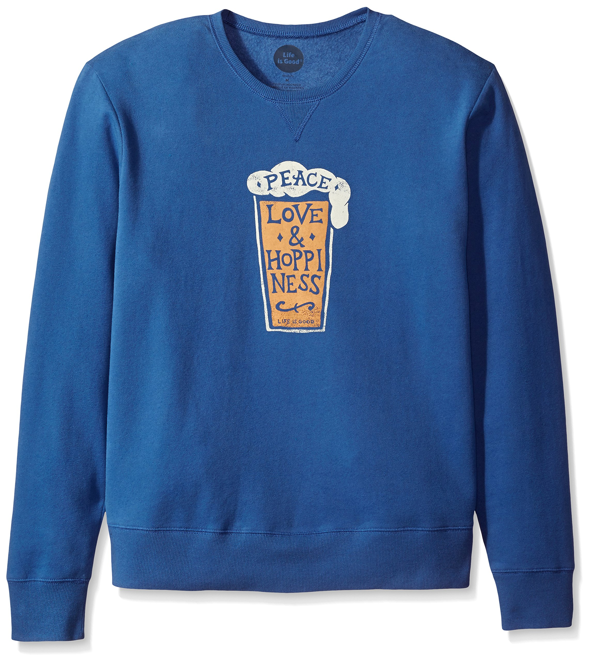 Life is Good Men's Go-To Crew Peace Love Hoppin, Vintage Blue, X-Large