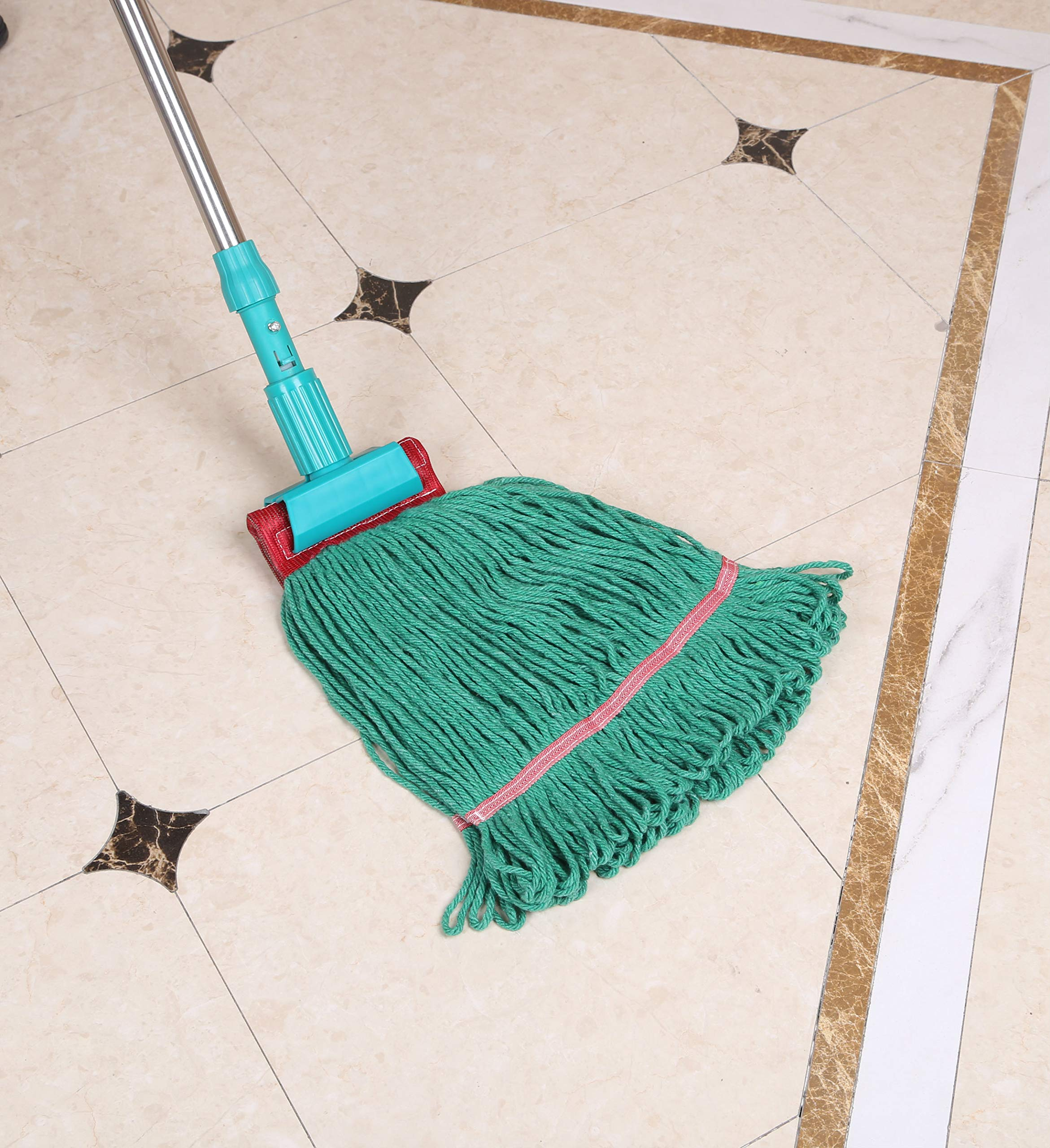 Loop-End Mop Heads Polyester Cotton 18-Inch Large, Green 4-Pack by QIPENG (Image #5)