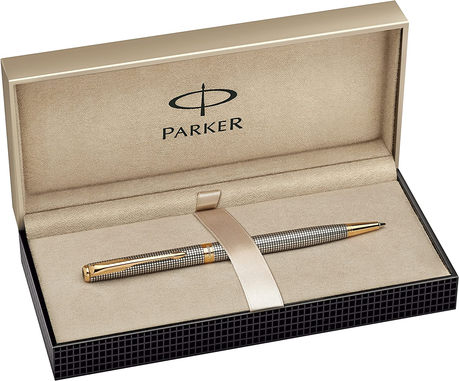 Parker Style Silver /& Gold Ballpoint Pen Stainless Steel Biro Black Ink With Box
