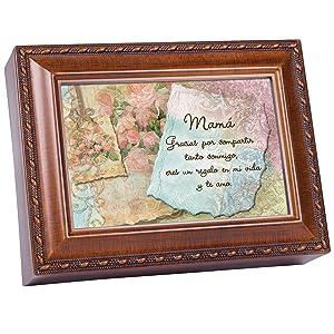 Cottage Garden Mama Wood Finish Jewelry Music Box You Light Up My Life