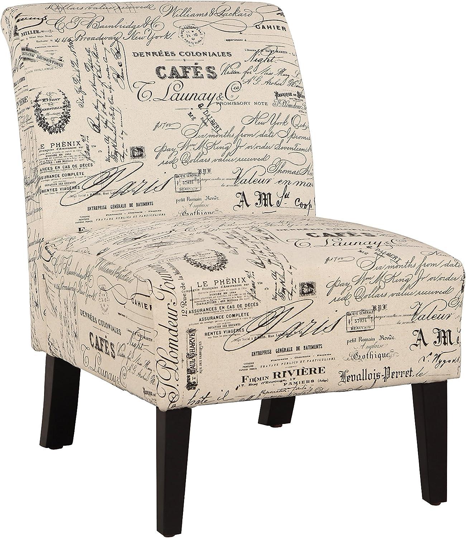 """Linon 98320SCRPT01U Linen Script Lily, Dark Walnut Chair, 21.5"""" W x 29.5"""" D X 31.5"""" H"""