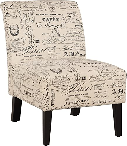 Linon Linen Script Lily, Dark Walnut Chair, 21.5 W x 29.5 D X 31.5 H