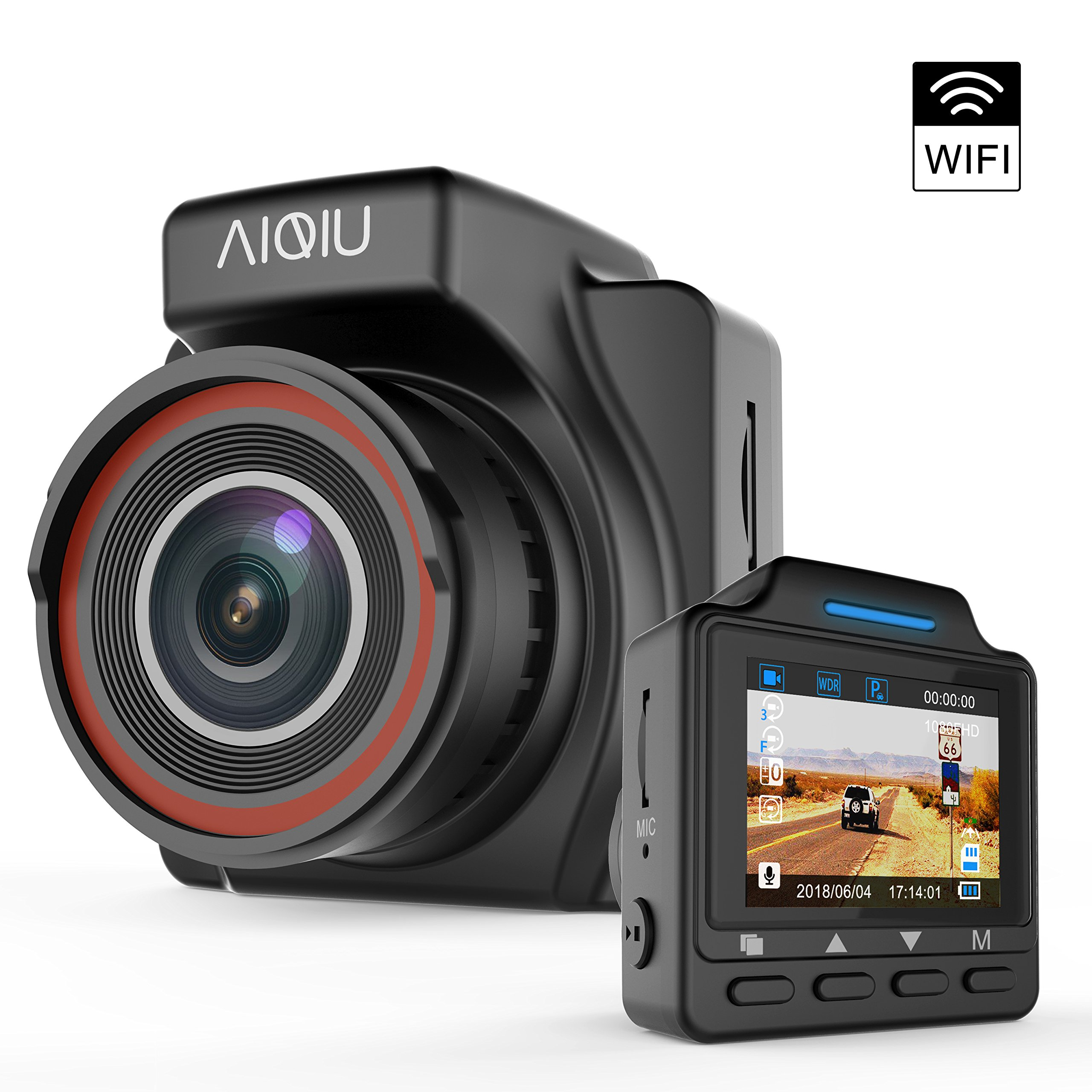 Dash Cam, AIQIU C1 WiFi 1080P FHD Car Driving Recorder 1.5'' Mini Night Vision Vehicle Dashboard Camera with G-Sensor, Loop Recording, WDR, Motion Detection, Parking Monitor