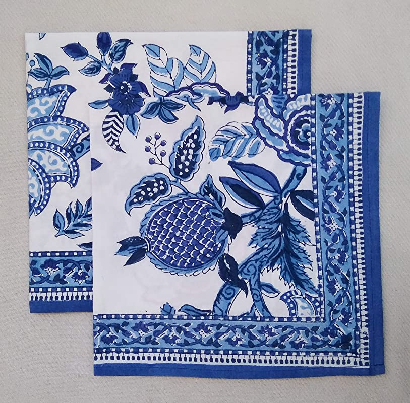 Set of 8 Cobalt Blue Manchu Chinoiserie Floral Anokhi Hand block Print Indian Cotton Napkins 18 Square