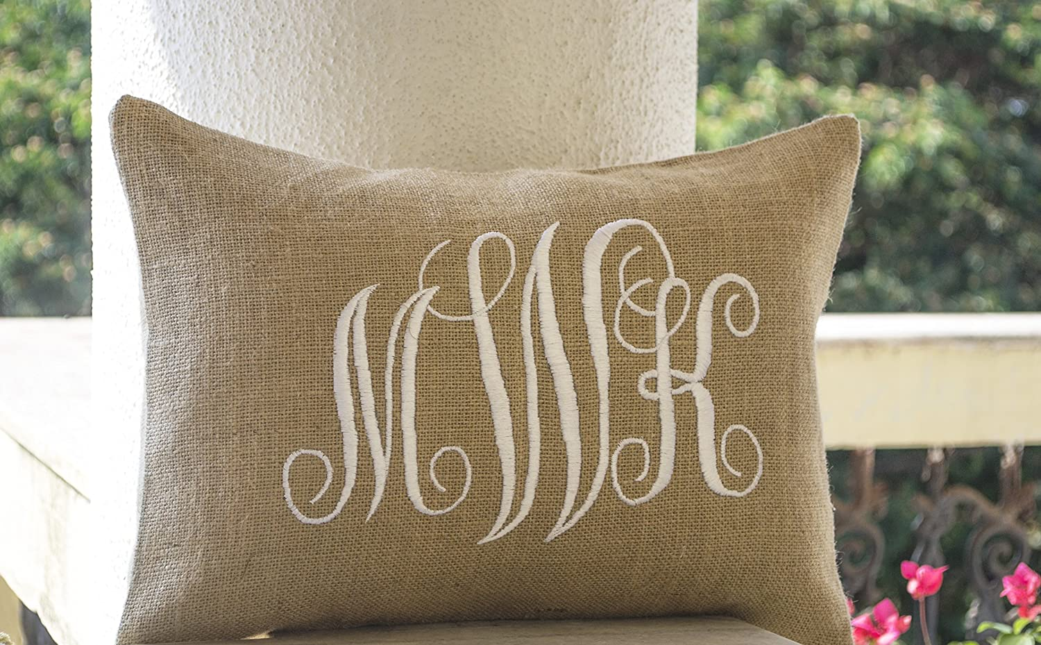 monogram handcrafted beaute burlap com amazon three pillow dp customizable letters custom cursive covers lumbar amore pillows