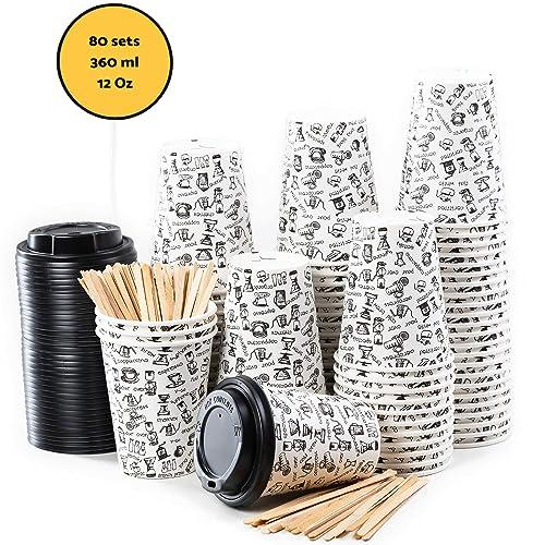 80 Gobelets Carton pour Café à Emporter - Tasse Café 360ml avec Couvercles et Agitateurs en Bois pour Servir le Café, le Thé, des Boissons Chaudes et Froides