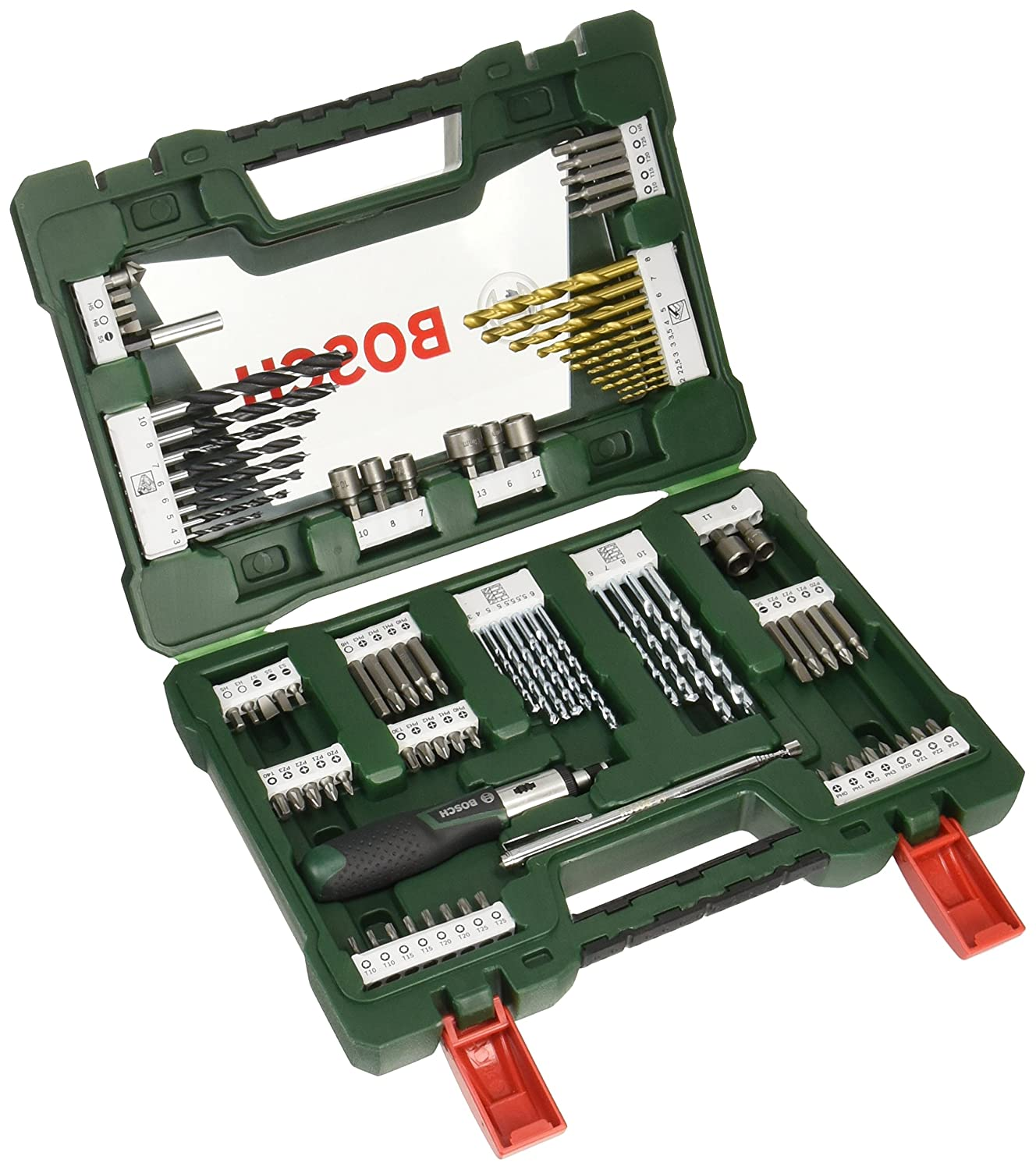 Bosch Drill and Screwdriver Bit Set with Ratchet Screwdriver and Magnetic Stick, 91 Pieces 2607017195