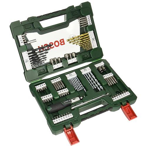 Bosch V-Line Titanio - Pack con 91 piezas para taladrar y atornillar, con destornillador dinamométrico y barra imantada, maletín, color verde