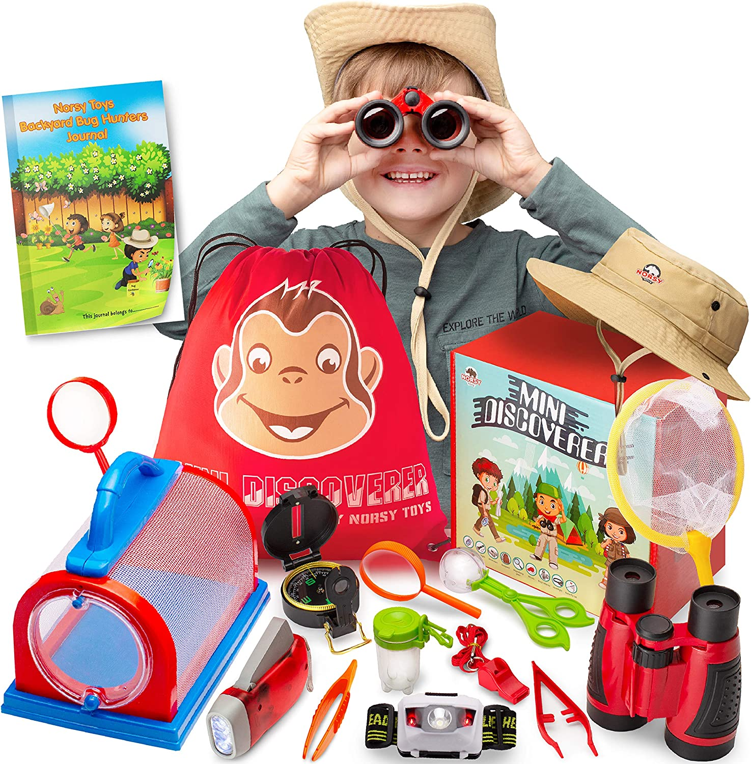 Kids Explorer Kit - Bug Catcher Kit for Kids & Binoculars for Kids - Great Gift for Boys & Girls - Best for 3, 4, 5, 6, 7, 8, 9 & 10 Year Old | Magnifying Glass, Flashlight, Compass, Safari Hat