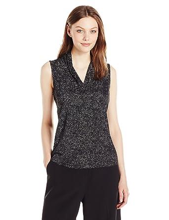 3525409ba23ea4 Anne Klein Women s Print Triple Pleat Top at Amazon Women s Clothing ...