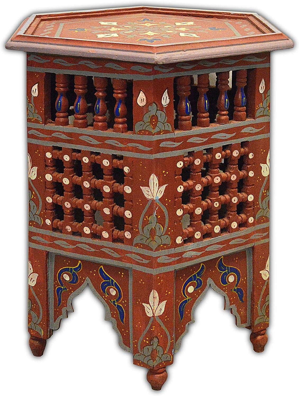 Dipinto a mano Mousharabiah marocchino ottagonale Tabella di caff/è di 45 H50 CM In rosso Marrakech