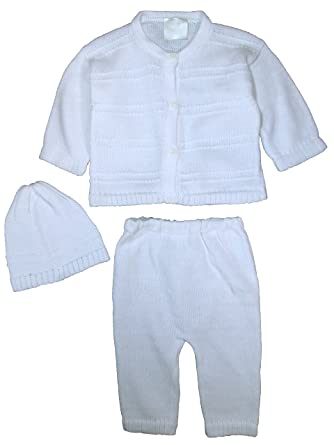10efac992 100% Cotton Knit Baby Boys 3 Piece Button Up Sweater with Pants and Cap,