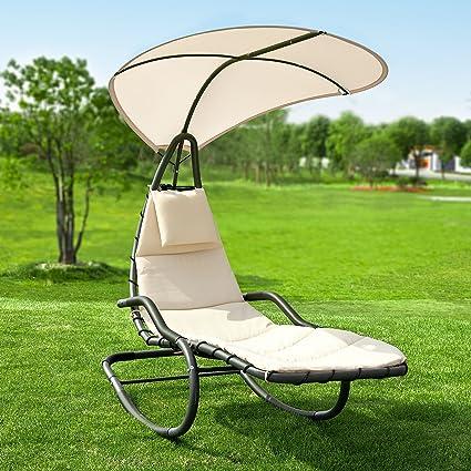 SoBuy® OGS33-MI Lit suspendu Transat Bain de Soleil Fauteuil à bascule  Balancelle de jardin et patio - Beige