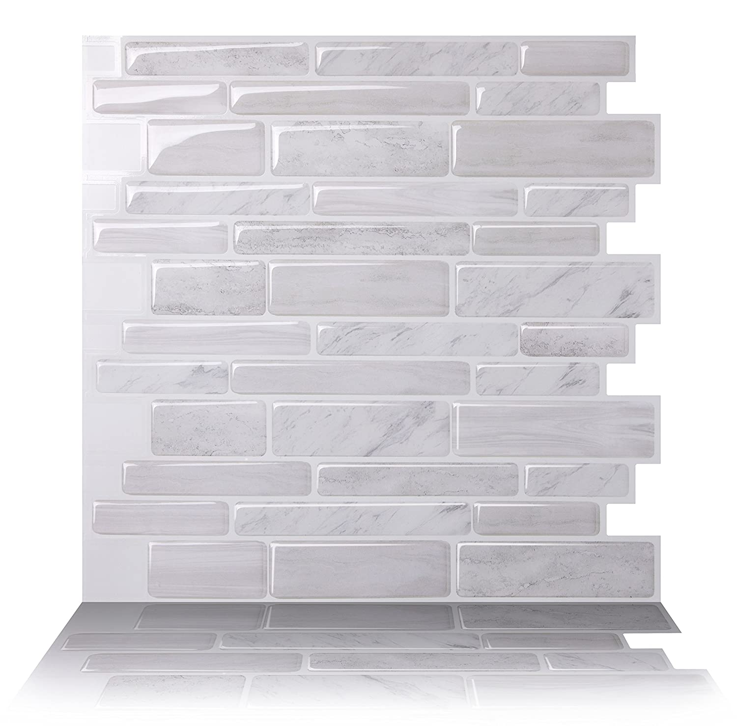 Tic Tac Tiles Anti-Mold Peel and Stick Wall Tile in Polito White (1 Tile) AHN-BRS11