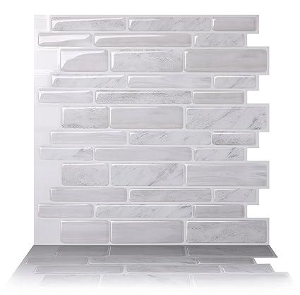 Amazon.com: Tic Tac Tiles Anti Mold Peel And Stick Wall Tile In Polito  White (10 Tiles): Home U0026 Kitchen