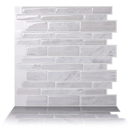 tic tac tiles premium anti mold peel and stick wall tile rh amazon co uk Lowe's Peel and Stick Backsplash Peel and Stick Tiles for Living Room Wall