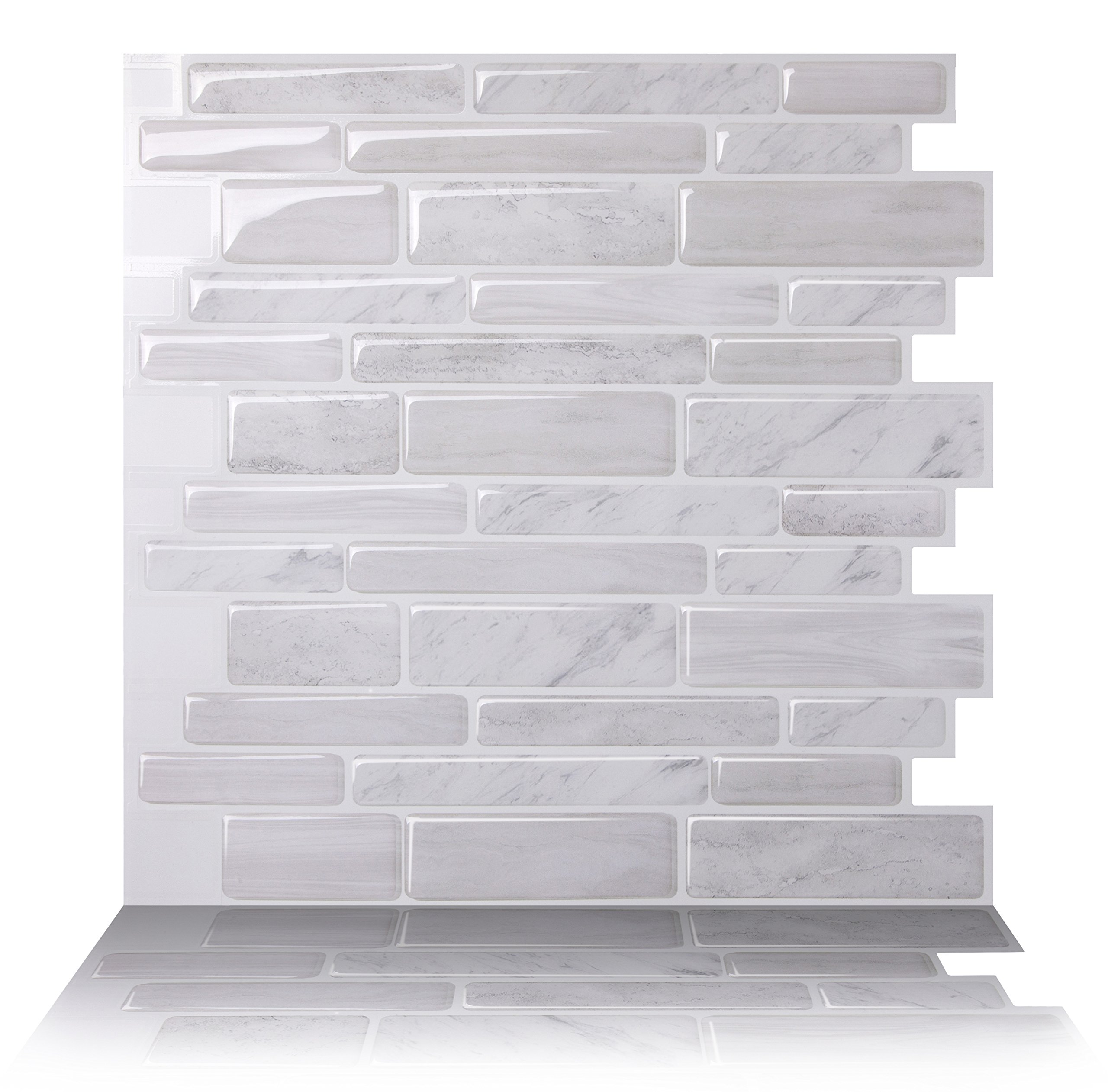 Tic Tac Tiles Anti-mold Peel and Stick Wall Tile in Polito White (10 Tiles)