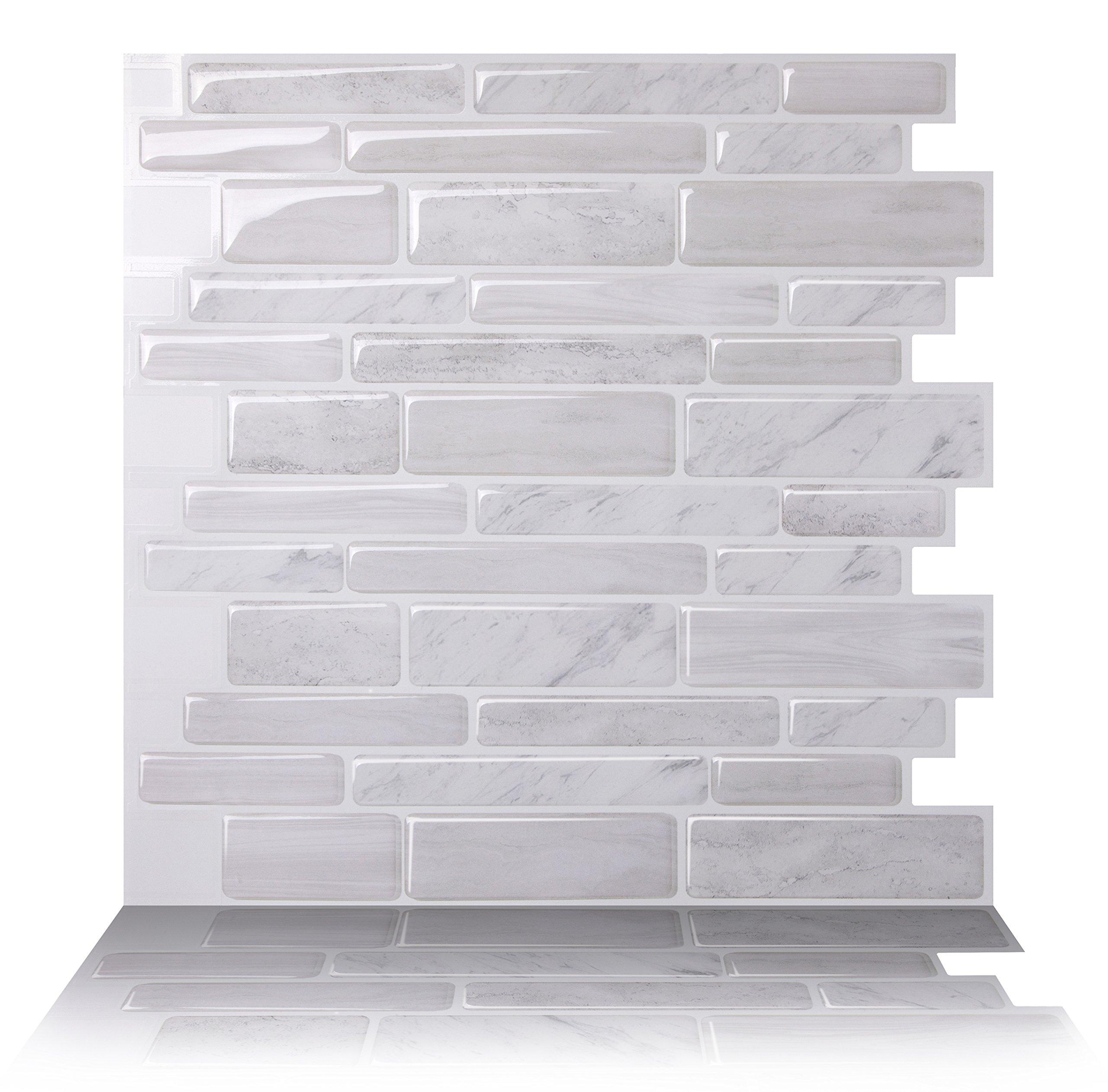 Tic Tac Tiles - 12'' x 12'' Premium Anti Mold Peel and Stick Wall Tile in Polito White (10, Polito White (12'' x 12''))