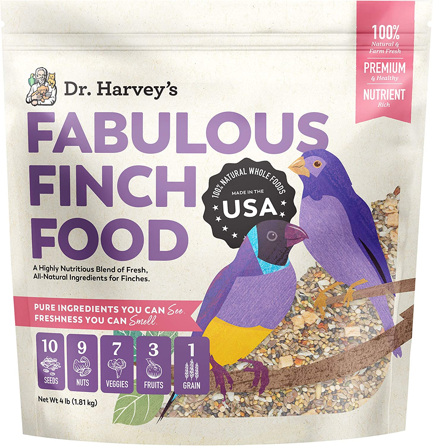 Dr. Harvey's Fabulous Finch Food, All Natural Food for Finches (4 pounds)