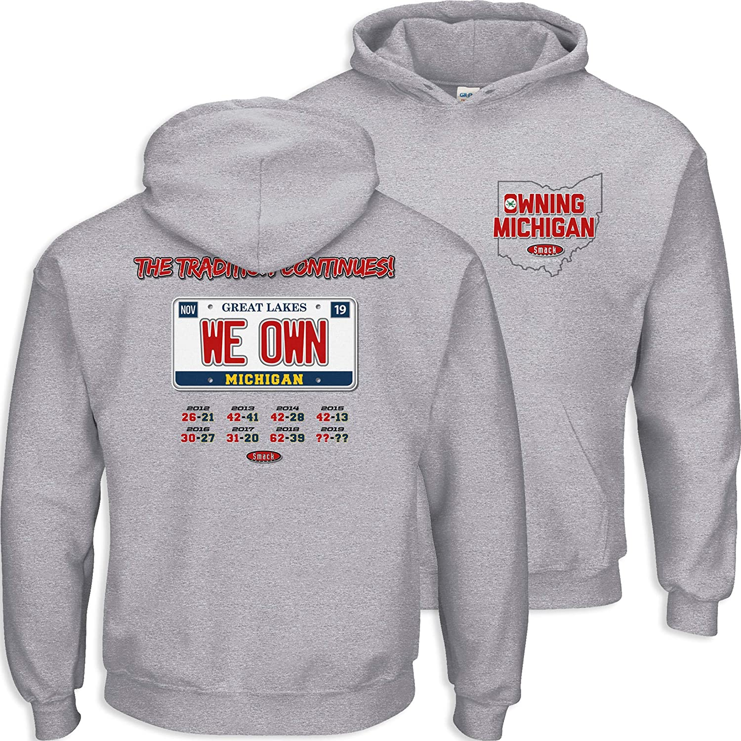 We Own Michigan Gray T-Shirt Smack Apparel Ohio State Football Fans Sm-5X