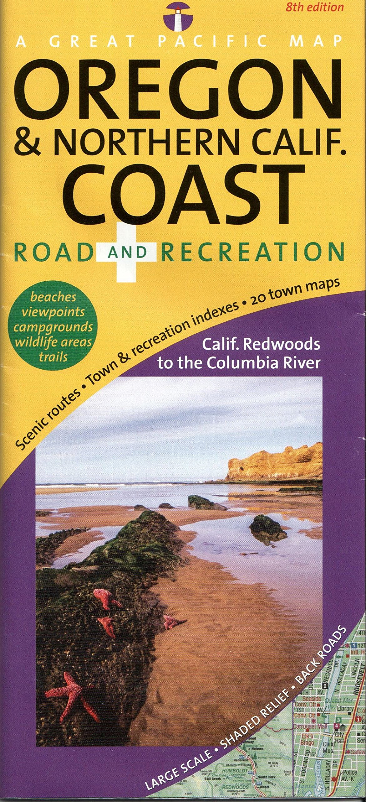 Oregon Northern California Coast Road Recreation Map Th - Map of oregon and california coast
