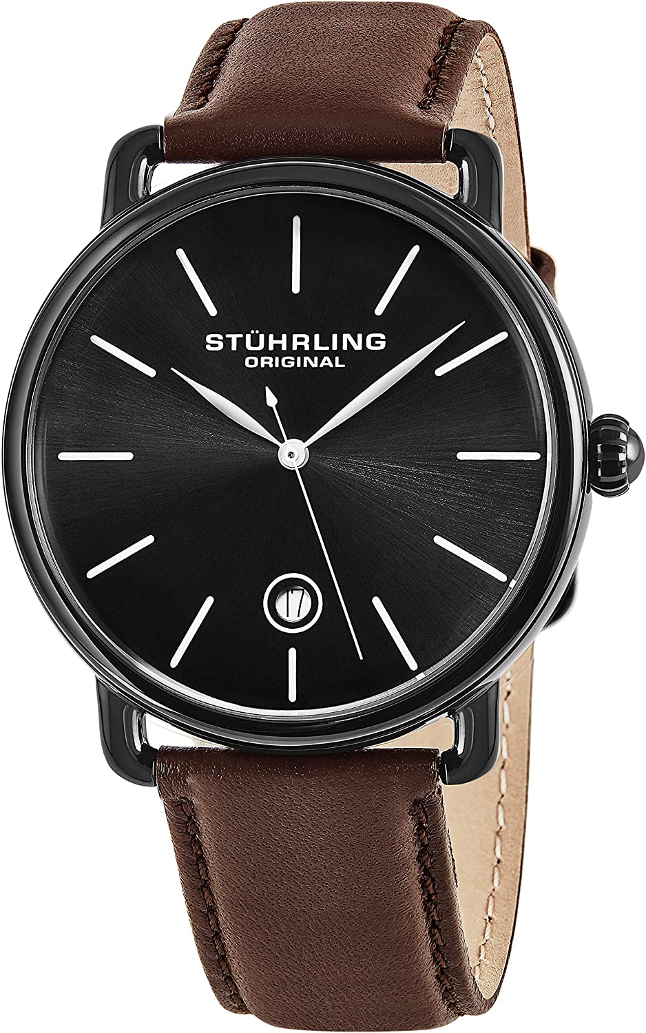 Stuhrling Original Ascot Mens Black Watch – Swiss Quartz Analog Date Wrist Watch for Men – Stainless Steel Mens Designer Watch