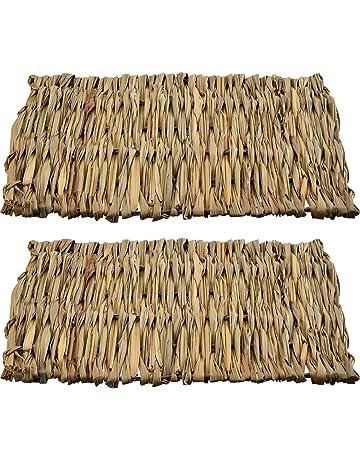 2 Piezas de Cama de Juguete Masticable para Mascotas Pequeñas Alfombra de Hierba Tejida a Mano