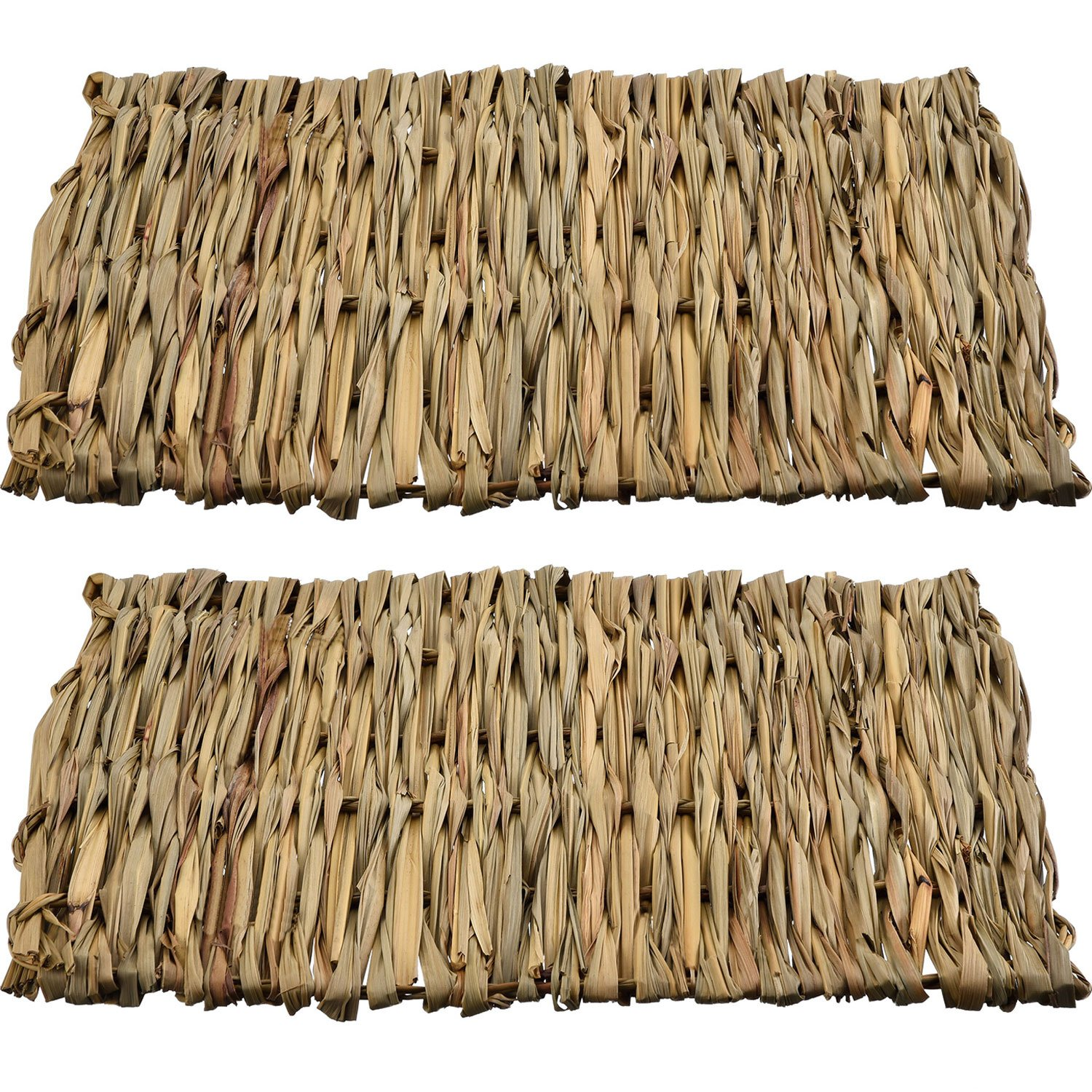 2 Pack Small Animal Chew Toy Beds Natural Handwoven Grass Mats, Safe and Edible for Hamsters, Rabbits, Parrot Guinea Pig and Ferret Pangda