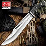Honshu Conqueror Bowie Knife and Sheath - 7Cr13 Stainless Steel Blade, Grippy TPR Handle, Stainless Steel Guard - Length 16 1