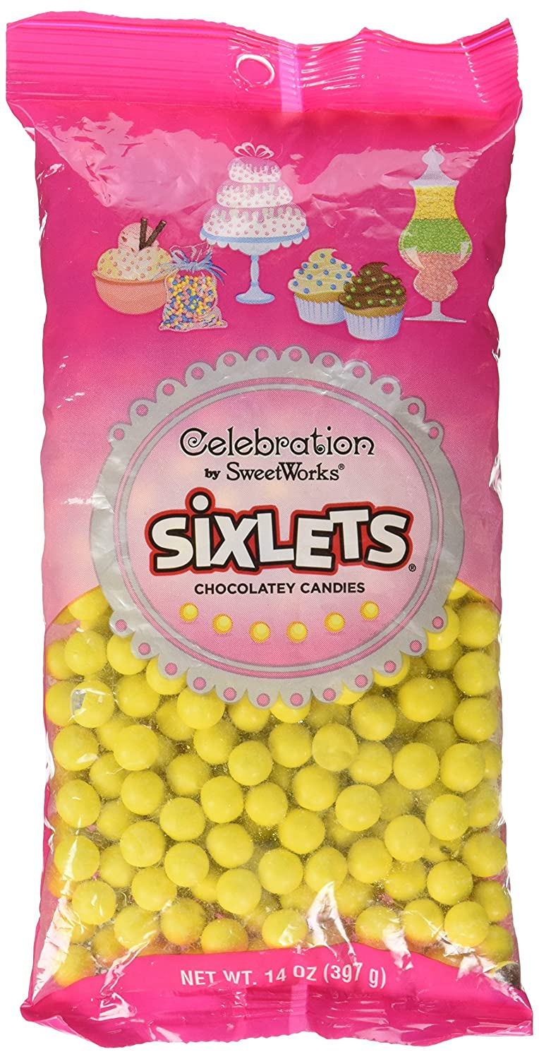 Sweetworks Celebrations Candy Sixlets Bag, 14 oz, Yellow