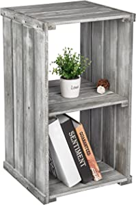 MyGift 2 Tier Dark Gray Wood Crate Design Storage Shelf Organizer Cubby, Bookcase Shelving Unit