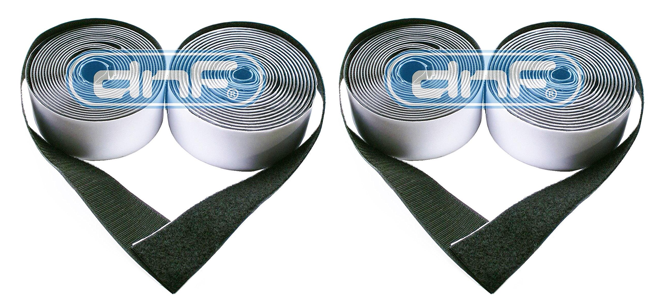 DNF 10 Yards (30 Feet) 2'' Black Self-Adhesive Sticky Hook & Loop Tape Fastener - SAME DAY PRIORITY SHIPPING!