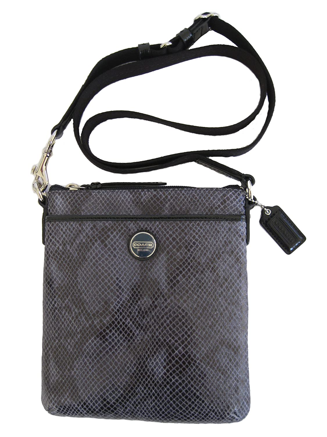 COACH Snake Skin Embossed Exotic Swingpack in SILVER / BLACK 50116