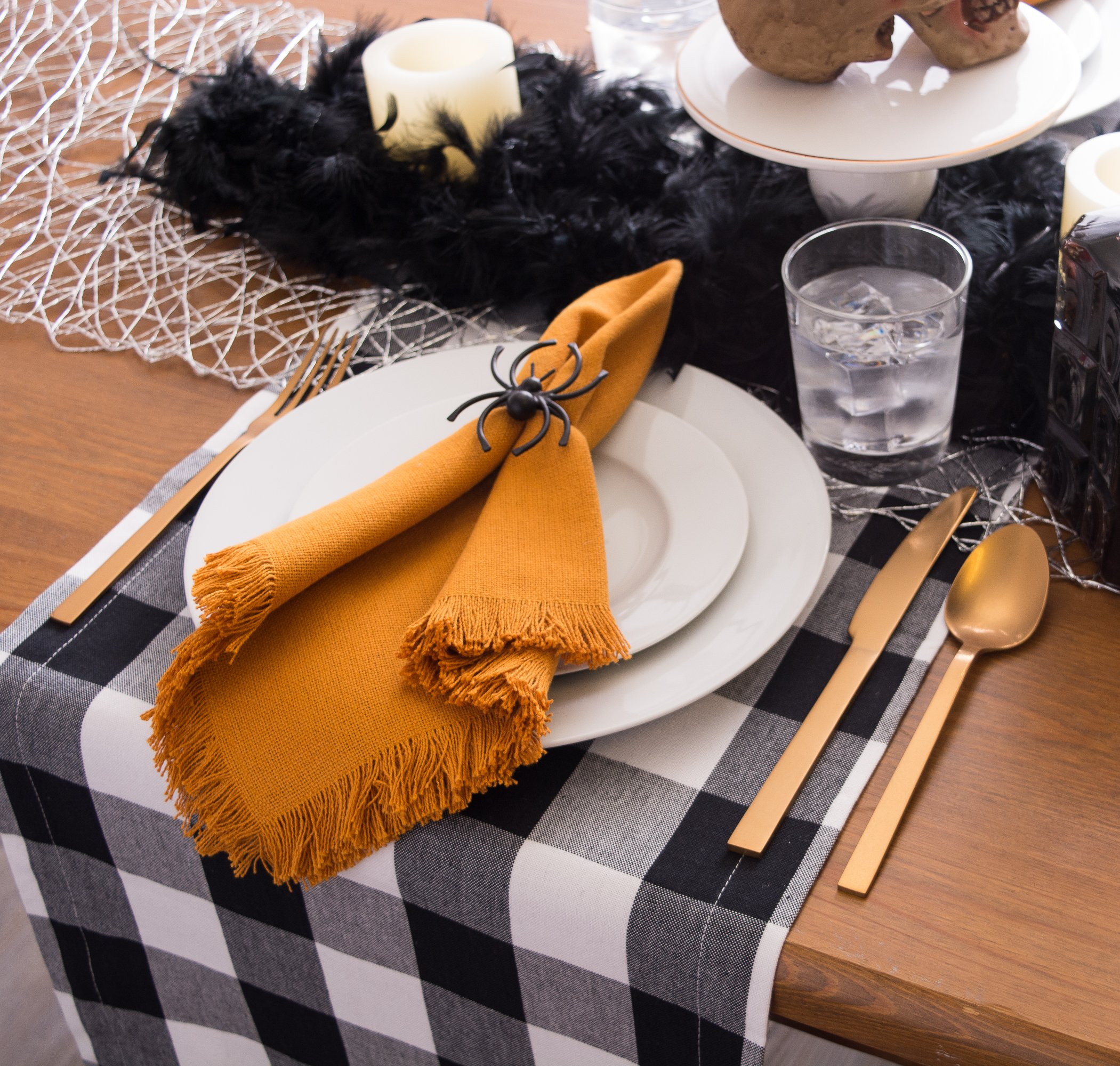 DII Cotton Buffalo Check Table Runner for Family Dinners or Gatherings, Indoor or Outdoor Parties, & Everyday Use (14x108'',  Seats 8-10 People), Black & White by DII (Image #5)