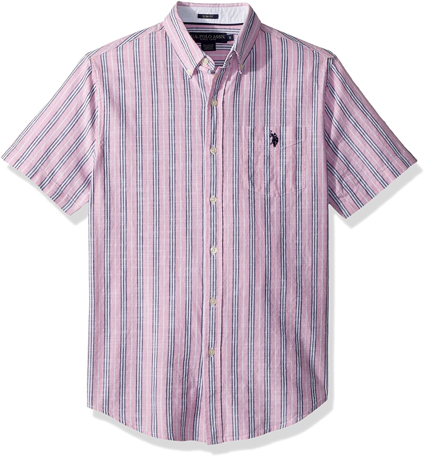 Mens Short Sleeve Slim Fit Striped Shirt U.S Polo Assn