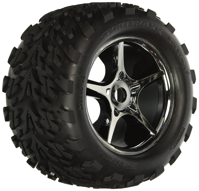 Amazon Traxxas 5374X Talon Tires Pre Glued Gemini Black Chrome Wheels TSM rated 17mm hubs pair Toys & Games