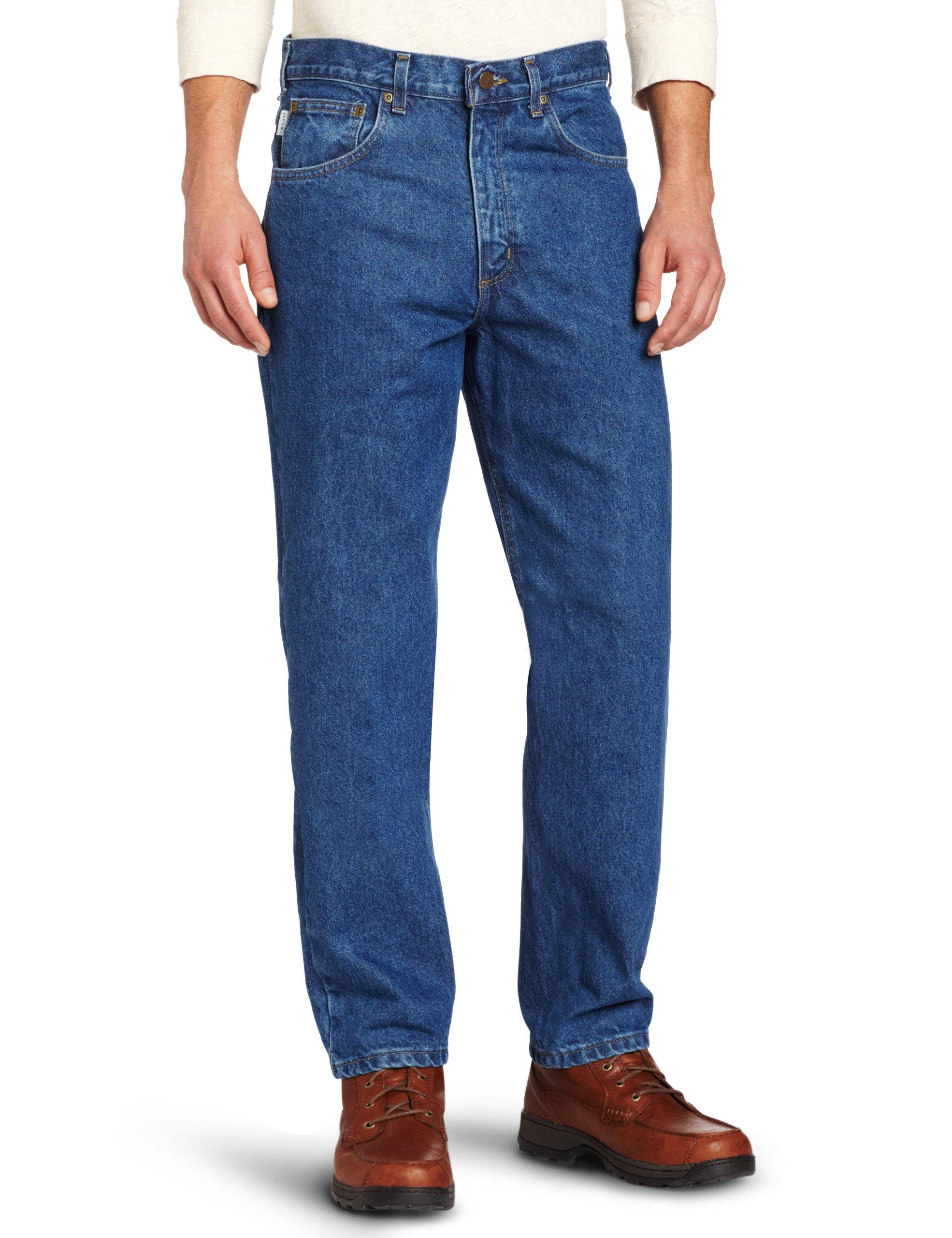 Carhartt Men's Tall Five Pocket Tapered Leg Jean, Dark Stone 48W x 32L
