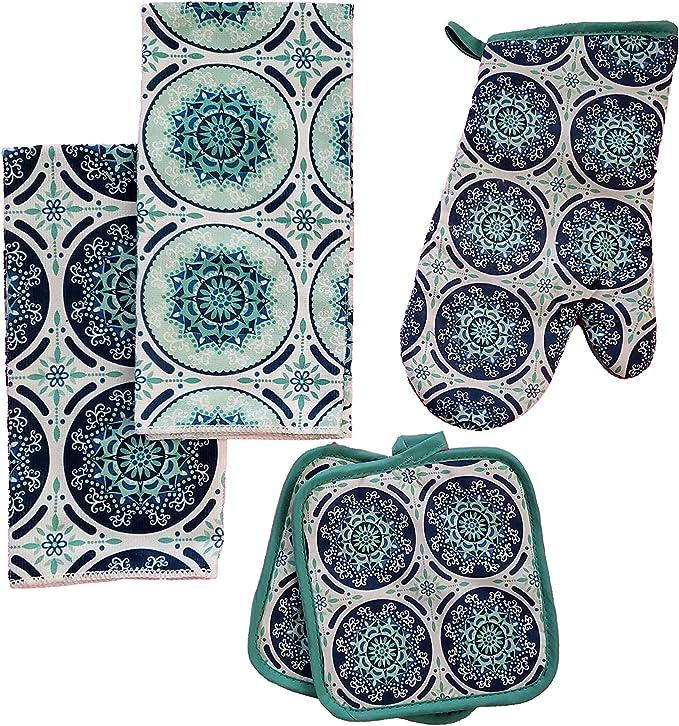 and 1 Oven Mitt 2 Dish Towels 2 Potholders Black 2 Dishcloths The Spotted Moose Kitchen Linen Set Black 7 Piece Bundle