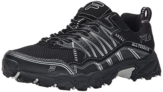 Fila Mens AT Tractile Running Shoe BlackBlackMetallic Silver