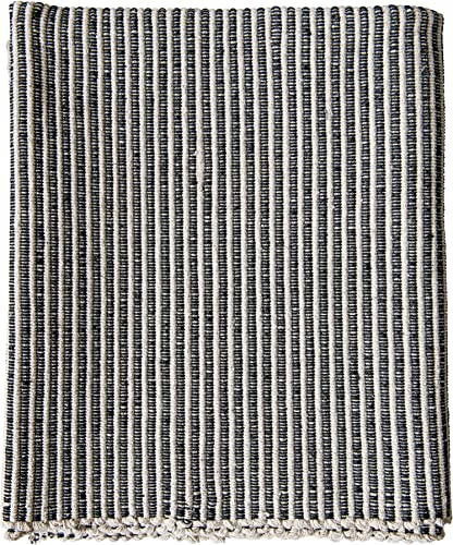Creative Co-Op 3 x 5 Black White Cotton Striped Dhurrie Rug