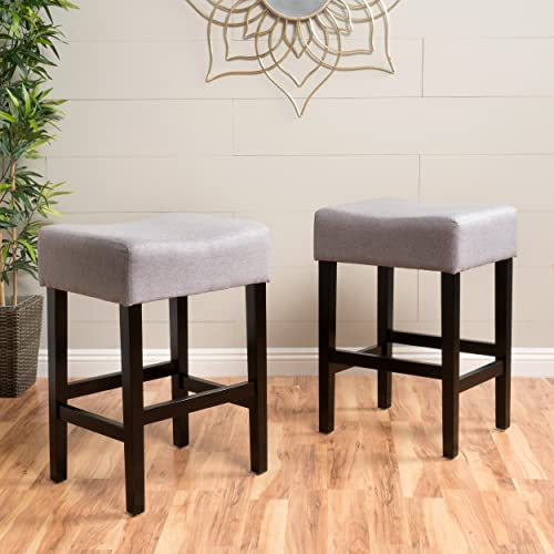 Coventry Light Grey Fabric Backless Counter Stools Set of 2