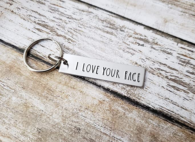 90c85b9477552 Amazon.com  I Love Your Face Funny Keychain for Husband or Boyfriend   Handmade